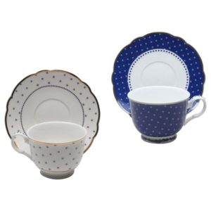 Blue Twinkle Star Teacups - White and Blue