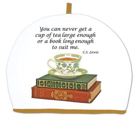 tea cozy, books, cur of tea